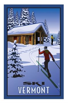 Vermont Vintage Style Ski Poster - Just Nordic Skiing, Alpine Skiing, Vintage Ski Posters, Illustrations Vintage, Etiquette Vintage, Poster Design, Sports Wallpapers, Cross Country Skiing, Vermont