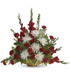 Majestic red and white blooms symbolize a special tribute of heartfelt love and adoration. Our elegant floor fireside basket arrangement, hand arraged by our floral artist with radiant red and white blooms, it's a tasteful gesture perfectly suited for the Funeral Floral Arrangements, Large Flower Arrangements, Funeral Bouquet, Funeral Flowers, Altar Flowers, Church Flowers, Beaded Flowers, Funeral Sprays, Gladiolus Flower