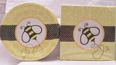 Bumblebee themed paper plates & napkins - birthday celebration/baby shower provides - bumblebee theme birthday decorations - http://www.babyshower-decorations.com/bumblebee-themed-paper-plates-napkins-birthday-celebrationbaby-shower-provides-bumblebee-theme-birthday-decorations.html