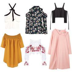 Zara cropped top with straps, $40, zara.com; Topshop floral print cold shoulder blouse, $35, topshop.com; Zara frilled halter-neck top, $50, zara.com; Cos asymmetrical oversize dress, $112, cosstores.com; For Love & Lemons Cecelia crop top, $216, forloveandlemons.com; Mango flowy dress, $70, mango.com
