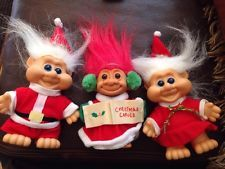 Three Vintage Christmas Troll Dolls