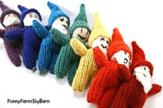 Rainbow Gnome Set / Snow White's Seven Dwarfs by FunnyFarmToyBarn, $75.00