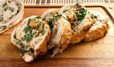 Stuffed Turkey Breast. A holiday inspired alternative to traditional roast turkey dinner, these breasts are stuffed with prosciutto, Swiss chard and cheese.