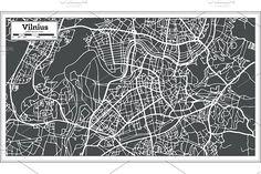 #Vilnius #Lithuania #Map in #Retro #Style by Igor Sorokin on @creativemarket