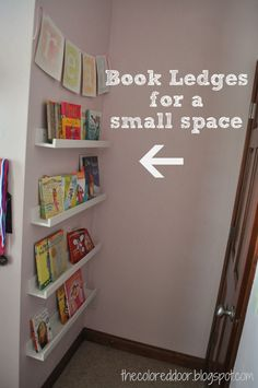 Such a great idea! Book ledges for a small space- the colored door