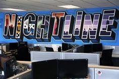 ABC News Nightline Office Graffiti Mural - Interior Aerosol Art - Graffiti Artist For Hire Office Wall Art, Office Walls, Google Office, New York Office, Graffiti Murals, Marvel Art, Abc News, Art Google, Street Art