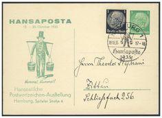 Germany, German Empire, Deutsches Reich 1935, 5 Pfg.-GA-Privatpostkarten von der Hansaposta, mit 1 Pfg.-Beifrankatur und Sonderstempel, nach Zittau gelaufen (Mi.-Nr.PP 126 C 9). Price Estimate (8/2016): 15 EUR. Unsold.