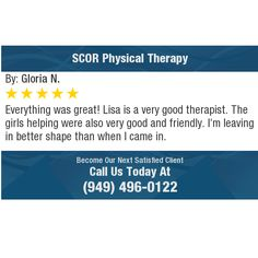 Everything was great! Lisa is a very good therapist. The girls helping were also very good...
