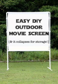 to make an easy DIY outdoor movie screen fun and easy DIY outdoor movie screen - packs up neatly for storage and goes together in minutes.fun and easy DIY outdoor movie screen - packs up neatly for storage and goes together in minutes. Backyard Movie Nights, Outdoor Movie Nights, Outdoor Movie Party, Backyard Movie Party, Diy Fotokabine, Easy Diy, Simple Diy, Outdoor Zelt, Outdoor Movie Screen