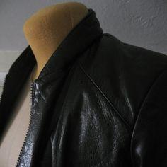 Vintage Black Leather Bomber Jacket by GraceWillVintage on Etsy, $48.00
