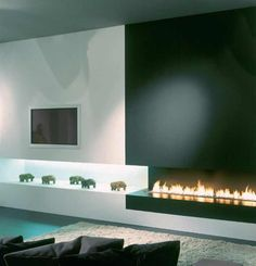 modern fireplace - black and white