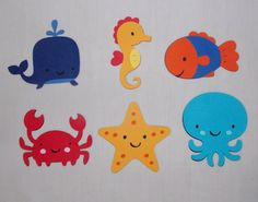 Large UNDER the SEA Die cut Choose all 1 kind or any MiX Whale Fish Seahorse Octopus Crab Starfish Cut Out Buy More and SAVE