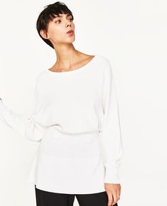 Image 1 of LONG BATWING-SLEEVED SWEATER WITH PEPLUM from Zara