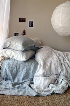 Pinstriped natural linen duvet cover /quilt cover / doona cover. Stonewashed, medium weight genuine European linen. Natural linen bedding. All