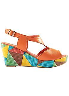 Lotus Harlequin Wedge Sandals