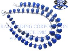 Lapis Lazuli Faceted Pear (Quality AA+) Shape: Pear Faceted Length: 18 cm Weight Approx: 3 to 5 Grms. Size Approx: 5x7 to 6.5x10 mm Price $7.50 Each Strand