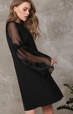 Платье прямого силуэта с пышными рукавами из органзы TOP20 Studio / 2000000189543-1