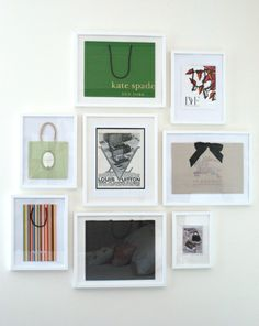 This idea is perfect for a shopping bag hoarder like me: frame your favorites as instant art!