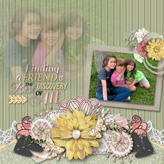 My second LO using Snickerdoodle Designs Forever Friends Collection. Tons of beautiful elements, papers and loads of extras! Click to get it!