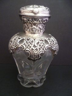 VERY RARE WILLIAM COMYNS LARGE SOLID SILVER TOP PERFUME/SCENT BOTTLE H/MARK 1901   eBay
