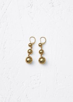 Dot Straight Earrings in Brass - Céline