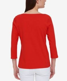 Tommy Hilfiger Three-Quarter-Sleeve Boat-Neck Top, Only at Macy's - Ivory/Cream XXL
