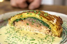 Salmon en Croute (or a Salmon Pasty!) is a classic recipe and a real crowd pleaser. It is served with a deliciously cream, stock and chive sauce! Salmon En Croute Recipe, Salmon Recipe Pan, Sauce For Salmon, Baked Salmon Recipes, Seafood Recipes, Cooking Recipes, Vegetarian Christmas Recipes, Xmas Recipes, Vegetarian Recipes