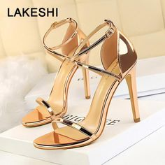 85ed94a5fb LAKESHI 2019 New Women Sandals Patent Leather Women High Heels Shoes Gold  Sexy Stiletto