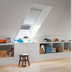 Buy White VELUX Blackout Roller Blinds from our Ready Made Blinds range at John Lewis & Partners. Attic Bedroom Storage, Attic Bedrooms, Bedroom Loft, Loft Playroom, Loft Room, Attic Renovation, Attic Remodel, Room Acoustics, Basement Furniture