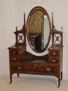 Mahogany Inlaid Dressing Table with Well and Large carved frame oval mirror Oval Mirror, Dressing Table, New Furniture, Carving, The Originals, Antiques, Frame, Ebay, Home Decor