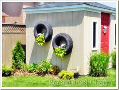 Garden shed with Tire Planters Outdoor Walls, Outdoor Spaces, Outdoor Living, Outdoor Decor, Tire Planters, Wall Planters, Flower Planters, Hanging Planters, Garden Planters