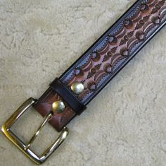 Hand-tooled Leather Belt B21010 in Browns and by DDJLeather