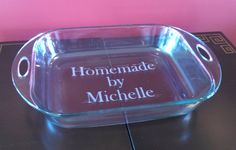 Personalized casserole dish, Etched dish with name or message. Birthday, Valentines day or house warming gift, baking pan, etched dish.