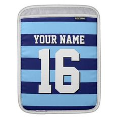 Sky Blue Navy Blue Sports Jersey Preppy Stripe Sleeve For iPads