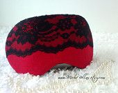 Sexy couture linen & lace eye mask in red & black ~ perfect for travel, sleeping, or as a gift.