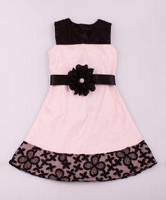Look at this Mia Belle Baby Pink & Black Teatime Jackie Dress - Toddler & Girls on #zulily today!