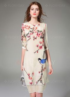 Dresses - $96.88 - Floral Half Sleeve Knee-Length Vintage Dresses (1955099855)