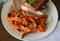 From the Virtual Vegan Potluck May 2013!  Sweet Potato Fries with Garlic, Lemon, and Parsley.  Easy and delicious.
