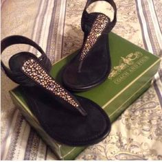 Black flats with studded crystals Comfortable black sandals that slide on and have a lot of sparkle to them Coach & Four  Shoes Sandals