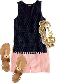 Navy, red & gold