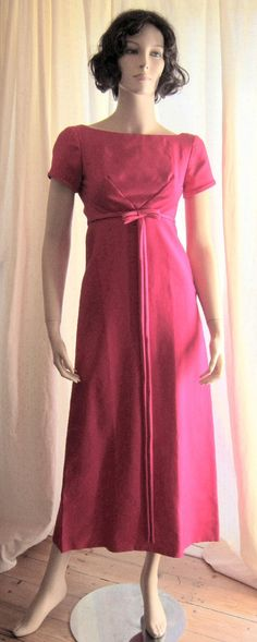 Vintage 60s dress Emma Domb evening dress hot pink empire waist Bust 32