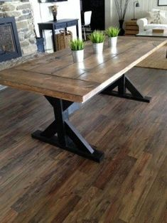 41 Inexpensive Kitchen Table That Will Make Your Home Look Fantastic. A kitchen table should be a place of warmth and love where families gather together and memories are made. A kitchen table is usua. Farmhouse Dining Room Table, Farmhouse Kitchen Tables, Dining Room Chairs, Dining Tables, Dining Rooms, Wood Tables, Rustic Table, Kitchen Chairs, Rustic Wood