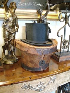 Antique French Top Hat with Leather Hat Box by edithandevelyn on Etsy
