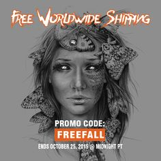 ► FREE Shipping on Society6 with Promo Code: FREEFALL | *Ends October 25, 2015 at Midnight PT |  #freeshipping #art #illustration #Halloween #woman #butterfly #eyes #promocode #society6 #offer #deals #shop #gifts