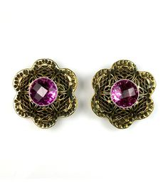 Brass Flower with Purple Accented Earrings