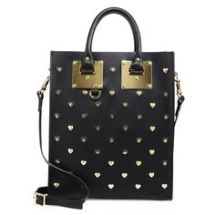 SOPHIE HULME Mini Albion Leather Heart Tote. #sophiehulme #bags #shoulder bags #hand bags #leather #tote #