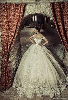 julia kontogruni 2017 bridal off the shoulders scoop neckline full embellishment princess ball gown wedding dress corset strap back royal train