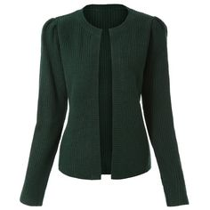 Cute Round Neck Long Sleeve Solid Color Knitted Cardigan For Women