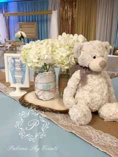 Teddy bear burlap baby shower party! See more party planning ideas at CatchMyParty.com!