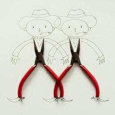 Artista faz desenhos criativos a partir de objetos do cotidiano
